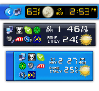 Active Alarm Clock screenshot: weather alarm clock, forecasts, weather conditions, skins, atomi